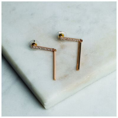 Pave Bar Drop Earrings