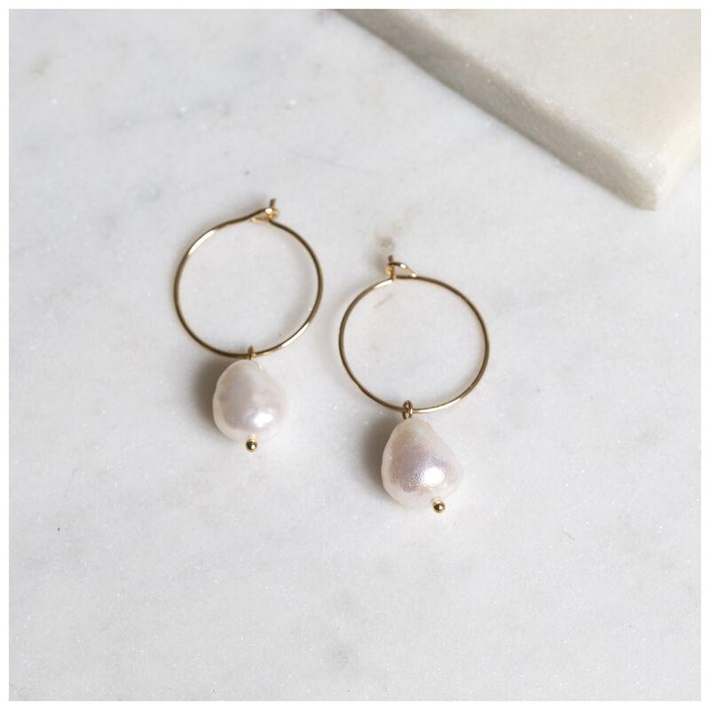 Freshwater Pearl Mini Hoop Earrings -  gold-cream