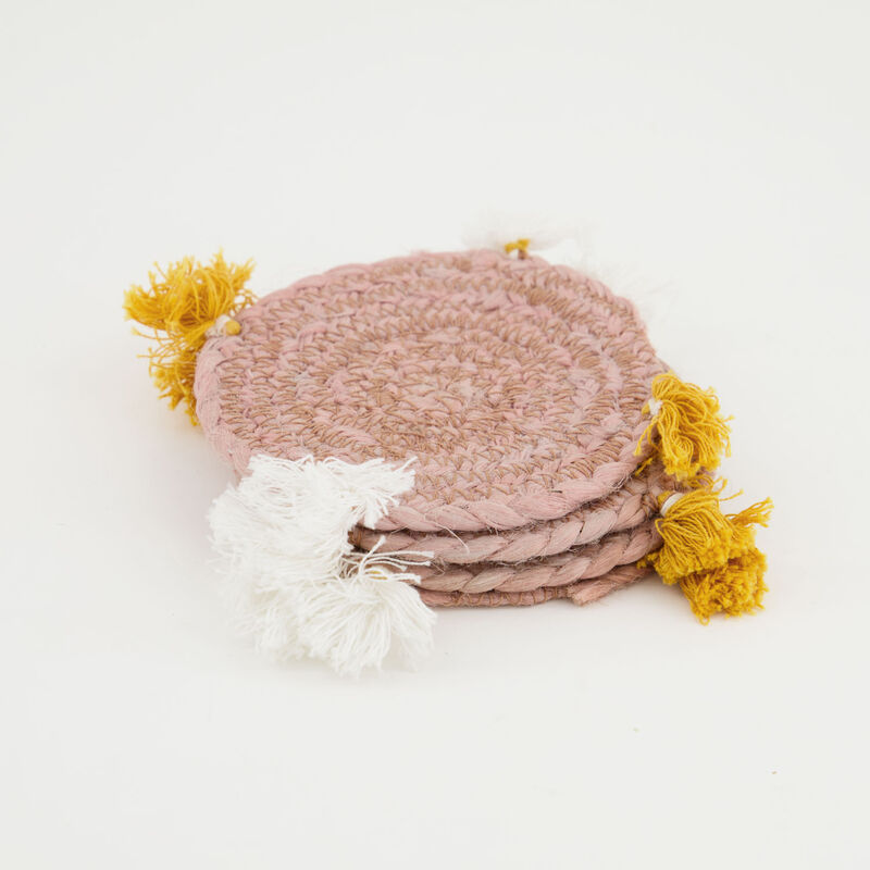 Guava & Ochre Tassel Coaster Set -  assorted