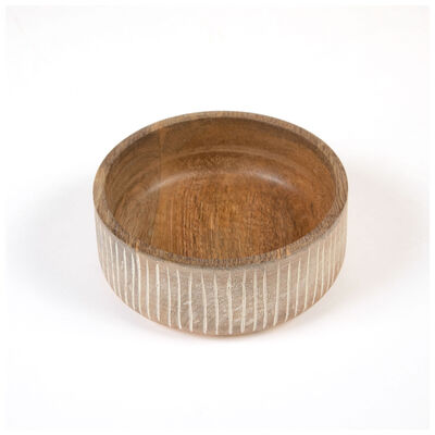 Small White-Washed Mango Wood Bowl