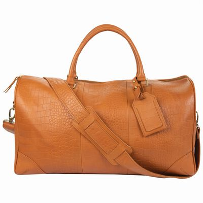 Embossed Leather Weekender Bag