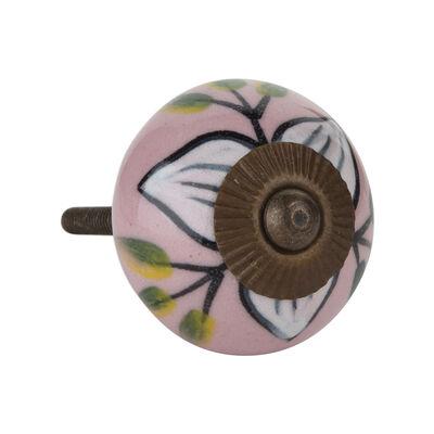 Pink & Green Flower Knob