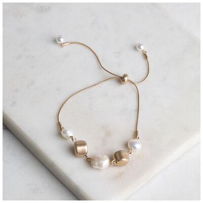 Adjustable Pearl & Bead Bracelet