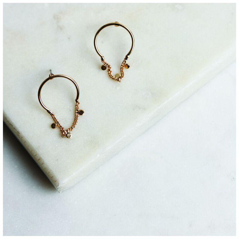 Mini Half Hoop Disk & Chain Drop Earrings