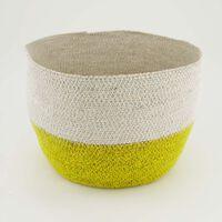Ochre & White Fine Weave Basket -  ochre-white