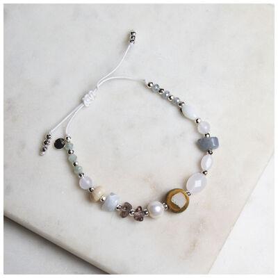 Freshwater Pearl & Natural Stone Adjustable Bracelet