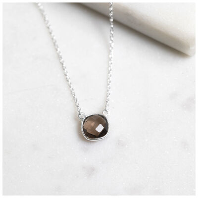 Silver & Smokey Quartz Cushion Drop Necklace