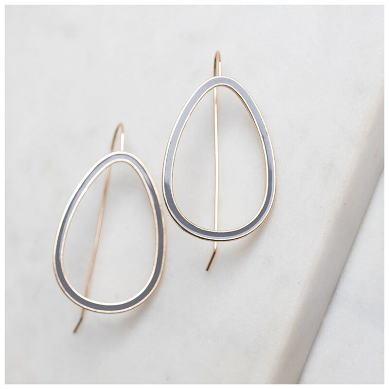 Geo Drop Resin Finish Earrings -  gold-grey