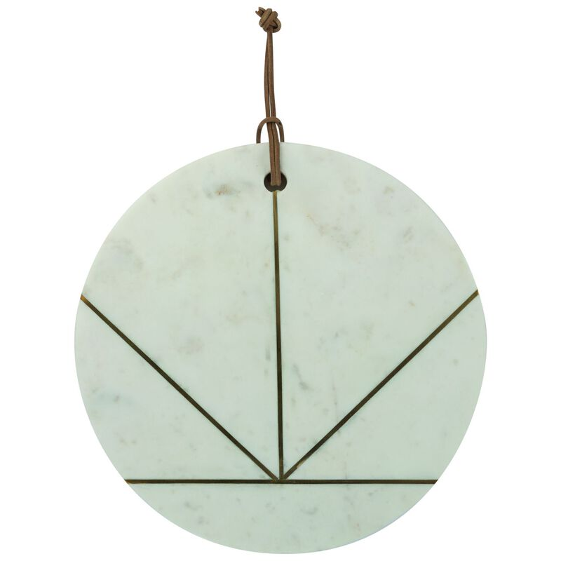 Marble & Brass Ray Round Serving Board -  white-gold