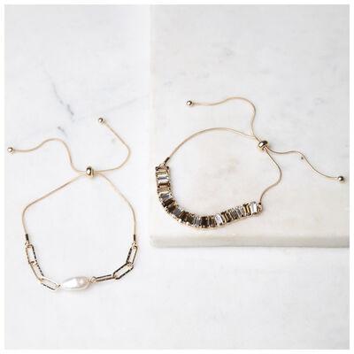 Adjustable Pearl & Gem Bracelet Set