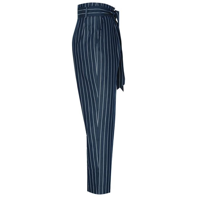 Aggie Poplin Stripe Pant -  navy