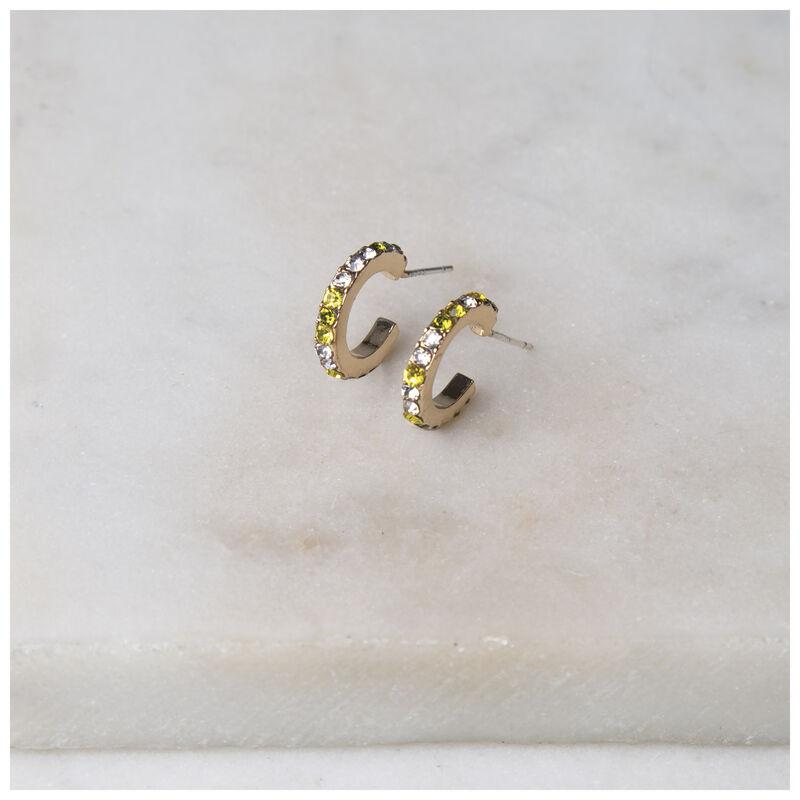 Pave Mini Hoop Earrings -  gold-green