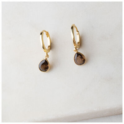 Gold & Smokey Quartz Teardrop Huggie Mini Drop Earrings