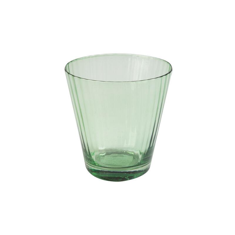 Green Ribbed Short Glass -  green