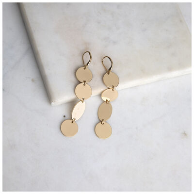 Linked Disc-Drop Earrings