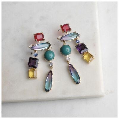 Long Assorted Stone Earrings