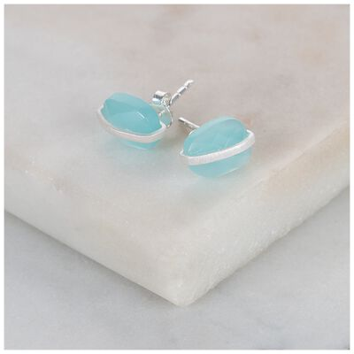 Aqua Chalcedony & Silver Stud Earrings