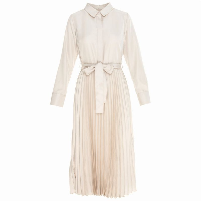 Leah Pleated Maxi Dress -  bone