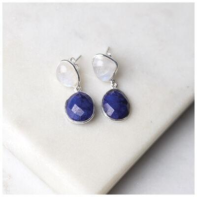 Rainbow Moonstone & Sapphire Double Drop Earrings
