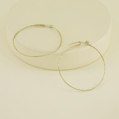 Delicate Large Hoop Earrings with Stones