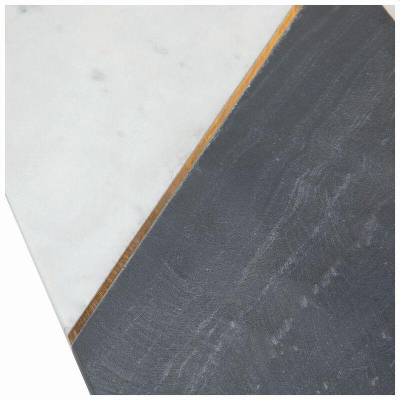 Asymmetric White & Black Marble Board -  white-black