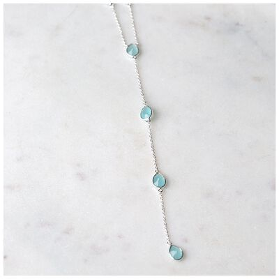 Aqua Chalcedony & Sterling Silver Necklace