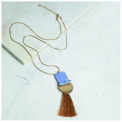 Resin Bar & Tassel Pendant Necklace