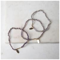 3-piece Beaded Bracelet Set -  gold-grey