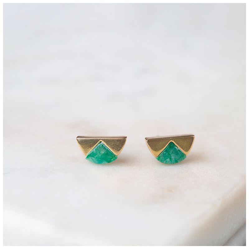 Emerald & Gold Halfmoon Earrings -  gold-emerald