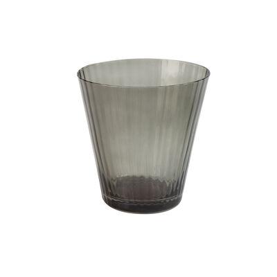 Smoke Ribbed Short Glass