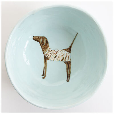 Gemma Orkin Pale Blue Pointer Dog Medium Bowl