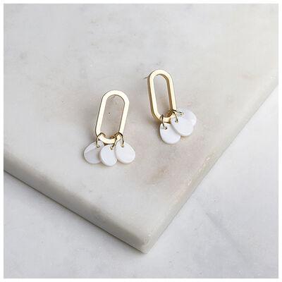 Oval Shell Disc-Drop Earrings