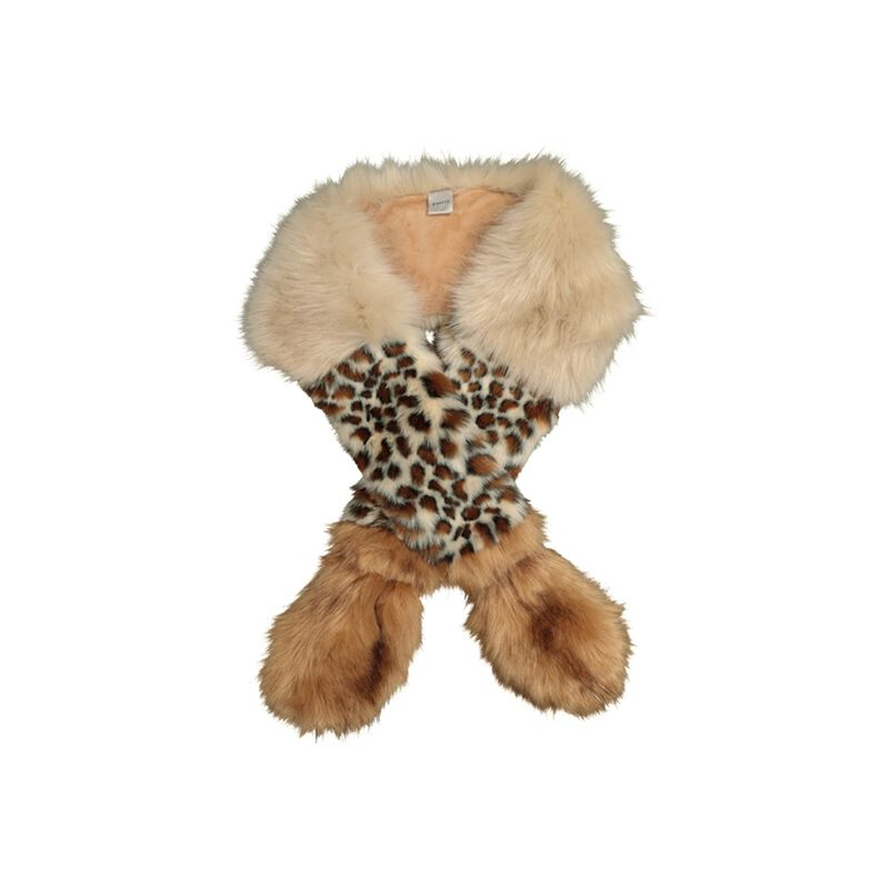 Ellis Animal Print Faux Fur Stole -  brown