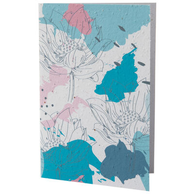 Abstract Blues and Pink Flower Card