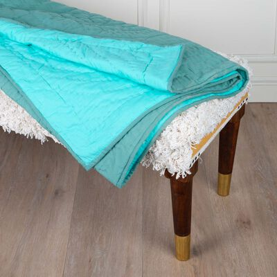 Green Two-Toned Quilted Throw
