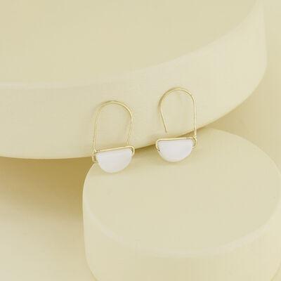 Stone Wedge Mini Hoop Earrings