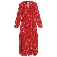 Marina Tiered Floral Dress -  coral