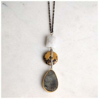 Natural Stone & Mini Beaded Chain Pendant Necklace