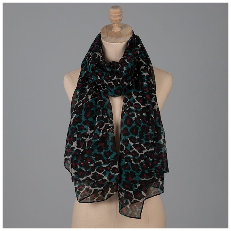 Cherish Leopard Print Scarf -  green-berry