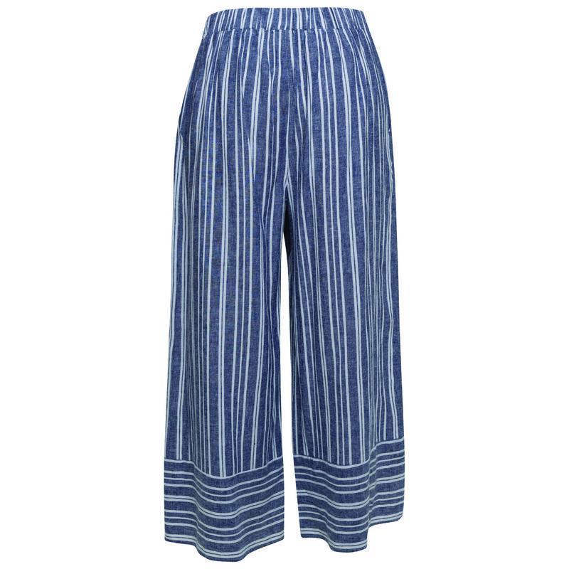 Samar Stripe Linen Pant -  blue