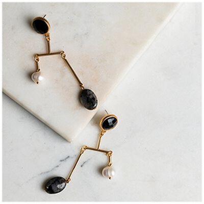 Freshwater Pearl & Resin Asymmetric Drop Earrings