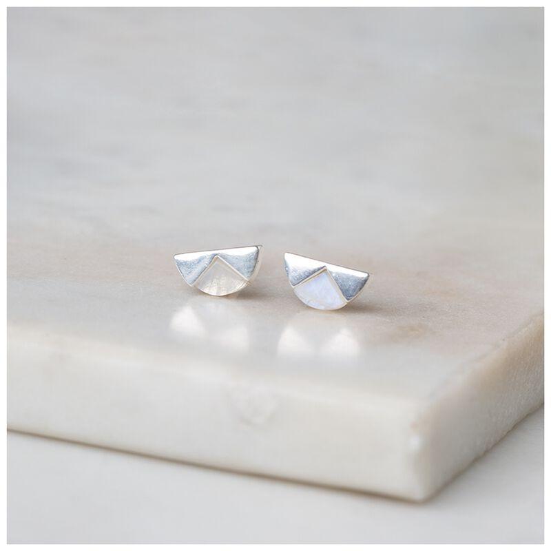 Moonstone & Sterling Silver Halfmoon Earrings -  silver-white