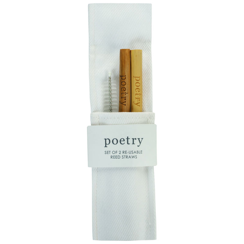 Poetry Reed Straws Set with Cleaner -  brown-white