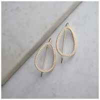 Geometric Drop Chain-Finish Earrings -  gold-milk