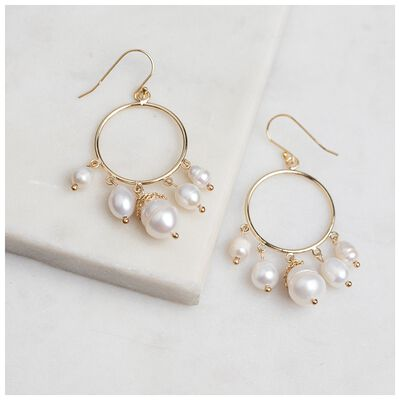 Freshwater Pearl Drop Hoop Earrings