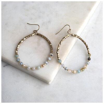Bead & Stone Hoop Earrings