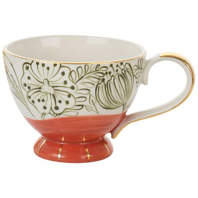 Red Floral Mug with Gold