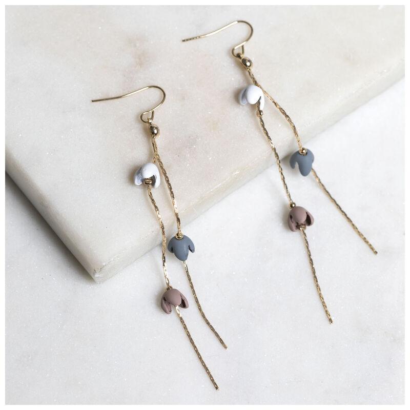 Falling Flowers Chain Earrings -  silver-assorted