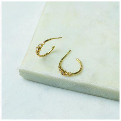 Crystal Cluster & Gold Hoop Earrings