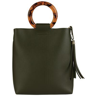 Irene Vegan Leather Bag with Resin Handles